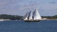 Sailboat off Rockport, Maine Stock Footage