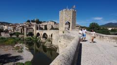European Stone Bridge in Timelapse with People Stock Footage