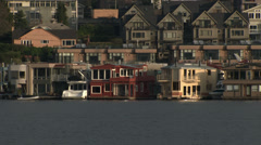 Houseboats  on Lake Union, Seattle, 4K Stock Footage