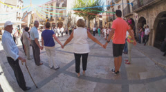 Dancing Celebration in a Small Town European Square in Timelapse Stock Footage