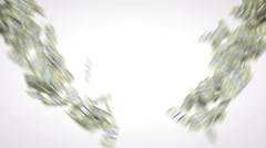 4K Money: dollar cash slow motion scattering on white. Alpha matte Stock Footage