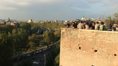 Social gathering in Rome (wide) Stock Footage