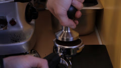 Pressing Coffee in Coffee Shop Stock Footage