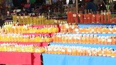 Roman market selling limoncello liquors Stock Footage