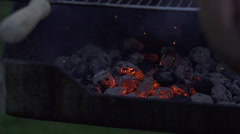 Man inflame grill, slow motion shot at 240fps Stock Footage
