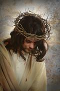 jesus with crown of thorns - stock photo