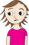 concerned looking girl - stock illustration