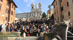Crowds gather on the Spanish Steps in Rome Stock Footage