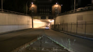 Stock Video Footage of Time lapse of traffic going into a tunnel at night