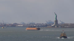 View Liberty Statue landmark icon day boat ship historic monument New York USA  Stock Footage