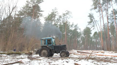 Forest Tree Tractor Stock Footage