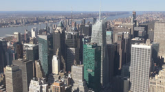 New York aerial view panoramic sunny day financial district office midtown USA Stock Footage
