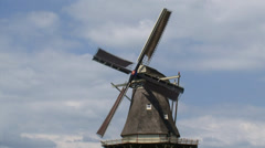 Dutch Windmill, gristmill in operation Stock Footage