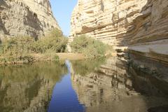 Reflection at Ein Avdat and Nachal Zin Natural Reserve and Geological Phenomenon - stock photo