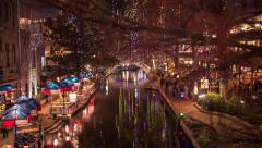 San Antonio RiverWalk at Night - Time-Lapse Stock Footage