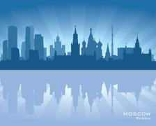 moscow, russia skyline - stock illustration