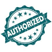 authorized turquoise vintage round grunge seal isolated on white background - stock illustration