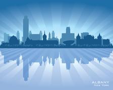 albany new york city skyline vector silhouette - stock illustration