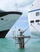 Cruise ships docked Stock Photos