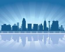 san antonio skyline with reflection in water - stock illustration