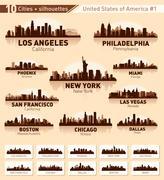 Skyline kaupunki asettaa. Piirros