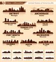 Stock Illustration of skyline city set. 10 cities of usa #4