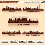City skyline set 5 silhouettes of south africa Stock Illustration