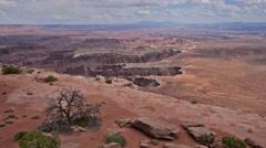 Canyonlands overlook moab utah national park pan Stock Footage