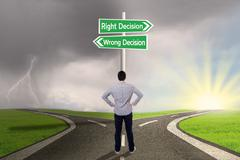 Stock Illustration of businessman with a sign of right vs wrong decision
