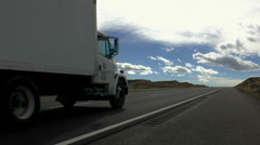 Small Truck Empty Highway Stock Footage