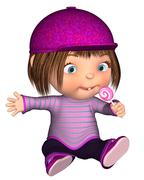 Cute Toon Kid Sitting with Pink Lollipop Stock Illustration