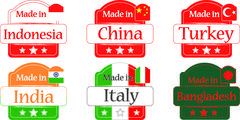 Made in Bangladesh-China-India-Turkey-Indonesia-Italy Stock Illustration