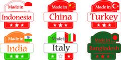 Made in Bangladesh-China-India-Turkey-Indonesia-Italy - stock illustration