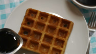 Stock Video Footage of Maple Syrup Poured On Waffle