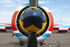 The spinner and propeller of an aerobatic airplane. Stock Photos