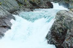 summer mountain river waterfalls (norge) - stock photo