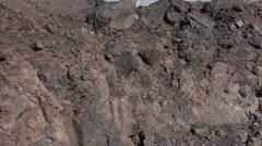 Greece, Santorini, volcanic rocks of the Santorini volcano, Nea Kameni island. Stock Footage