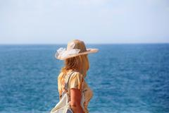 girl and ocean - stock photo