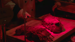 Meat carving station (1 of 2) Stock Footage