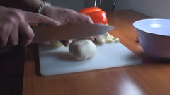Chicken Stroganoff Slicing The Mushrooms Side-Shot Stock Footage