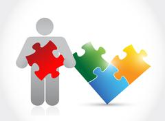 icon and puzzle. illustration design - stock illustration