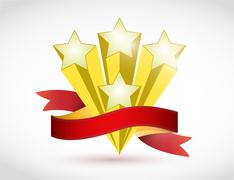 stars and ribbon illustration design - stock illustration