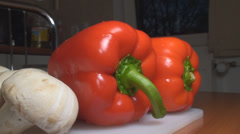 Chicken Stroganoff Mushrooms And Bell Pepper Dolly-Shot Stock Footage