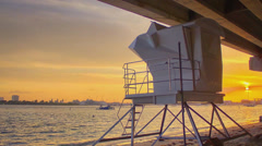 Lifeguard Tower Under a Bridge in Palm Beach County Florida Stock Footage