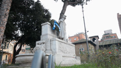Gioacchino Belli statue in Rome, Italy Stock Footage