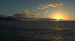 Sunset ship with Cape Town Stock Footage