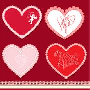Set of hearts shape are made of lace doily, elements for valentines day or we Stock Illustration
