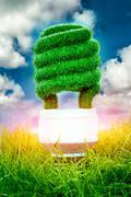 concept eco light bulb - stock illustration