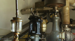 Steam engine in operation - close up copper oil reservoir Stock Footage