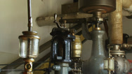 Stock Video Footage of Steam engine in operation - close up copper oil reservoir